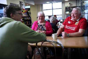 Jock Shiells with Arlenee Rowlins and Jimmy Landals at the Eyemouth Leisure Centre. Picture: Stewart Attwood