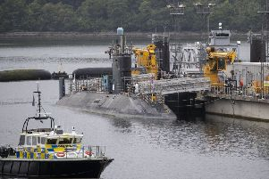 A Vanguard class nuclear submarines in the dock at HM Naval Base Clyde (Picture: Jane Barlow/PA Wire)