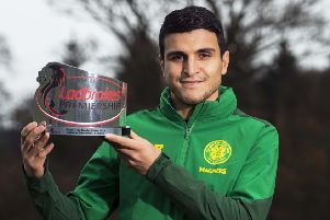 Celtic's Mohamed Elyounoussi with his Ladbrokes Premiership Player of the Month award for October. Picture: Paul Devlin/SNS