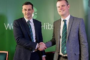 Hibernian sporting director Graeme Mathie, right, welcomes new manager Jack Ross to the club. Picture: Craig Williamson/SNS
