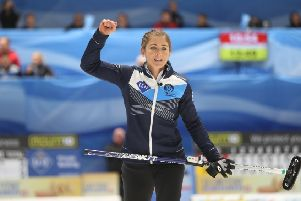 Eve Muirhead clinched victory over Switzerland with her last stone. Picture: Riochard Gray