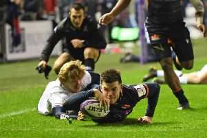 Blair Kinghorn scores the first try but Edinburgh eventually had to settle for a share of the points. Picture: SNS