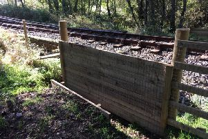 One of the experimental lowered sections of fence at Morvich on the Inverness-Thurso line. Picture: Network Rail