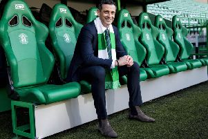 Hibernian manager Jack Ross sporting a natty pair of boots. Picture: Craig Williamson / SNS