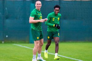 Scott Brown and young teammate Jeremie Frimpong in training at Lennoxtown. Picture: SNS