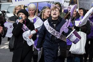 Glasgow WASPI group mark International Women's Day in 2018. Picture: John Devlin