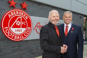 Stewart Milne, left, is stepping down at Aberdeen, with Dave Cormack set to become the new chairman at the club next month. Picture: Bill Murray/SNS