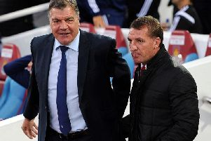 Sam Allardyce with former Celtic manager Brendan Rodgers. Picture: SNS