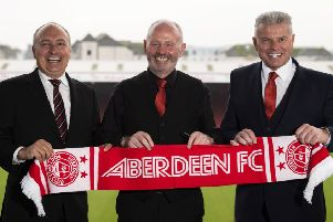 Darren Eales, Stewart Milne and Dave Cormack meet the media at Pittodrie. Picture: Craig Foy/SNS