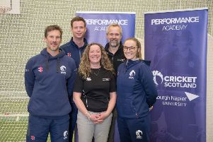 Edinburgh Napier University and Cricket Scotland launch a new Performance Academy, with L-R (back row) Alasdair Evans, Cedric English and (front row) Toby Bailey, Susan Brown and Abbi Aitken-Drummond.