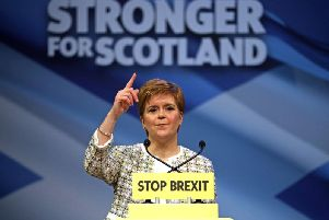 Nicola Sturgeon speaks at the launch of the SNP election manifesto. Picture: PA