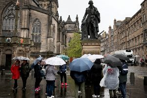 Tourists on Edinburgh's Royal Mile