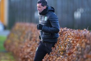 Hibs manager Jack Ross during a training session at East Mains. Picture: Bill Murray/SNS