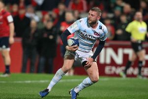 Finn Russell reacts after scoring a superb try for Racing 92 against Munster. Picture: Paul Faith/AFP via Getty Images