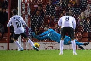 St Mirren's Tony Andreu sees his penalty saved by Aberdeen goalkeeper Joe Lewis. Picture: Bill Murray / SNS