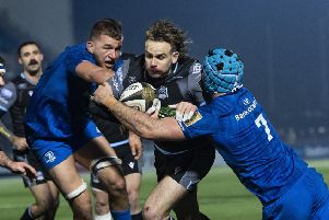 Ruaridh Jackson on the charge. The Glasgow Warriors full-back scored two tries and could have had a third. Picture: Gary Hutchison / SNS