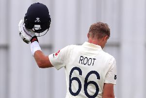 England captain Joe Root celebrates his century on day three of the second Test against New Zealand. Picture: David Gray/AFP via Getty