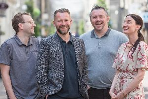 Ross Dempster, Paul Reid, Ed Henderson and Marcella Peacock of Trickle. Picture: Nick Mailer