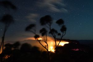 A bushfire burns out of control in the Blue Mountains of the New South Wales on Monday (Picture: Saeed Khan/AFP via Getty Images)