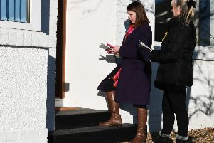 Liberal Democrat leader Jo Swinson out canvassing in Milngavie in her East Dunbartonshire seat last month (Picture: John Devlin)