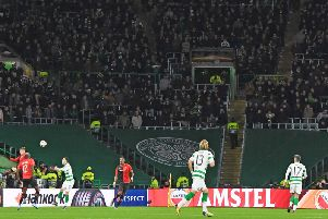 Part of the safe standing section is closed during the Europa League clash between Celtic and Rennes. Picture: SNS