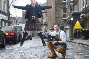Conor Scott from 8 Yards kilt company and Liam Ross of Jewellery by Liam Ross show off their bespoke offerings in Edinburghs West End. Picture: Greg Macvean