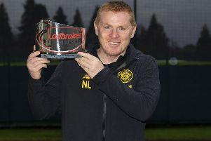 GLASGOW, SCOTLAND - DECEMBER 05: Celtic manager Neil Lennon is presented with the Ladbrokes Manager of the Month award for November, at Lennoxtown, on December 05, 2019, in Glasgow, Scotland. (Photo by Alan Harvey / SNS Group)
