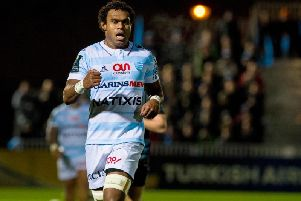 Leone Nakarawa in action for Racing 92 against Glasgow at Scotstoun in 2016
