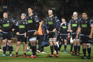 The Glasgow players are disconsolate at the end of their 23-10 Pro14 defeat by Leinster. Picture: Gary Hutchison/SNS