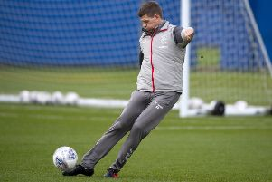 Rangers manager Steven Gerrard joins in with training ahead of the Betfred Cup final against Celtic. Picture: Alan Harvey/SNS