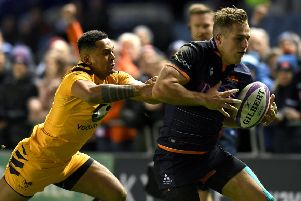 Edinburgh winger Duhan van der Merwe races for the line as he scores the opening try of the game chased by Zach Kibirige of Wasps. Picture: Mark Runnacles/Getty Images