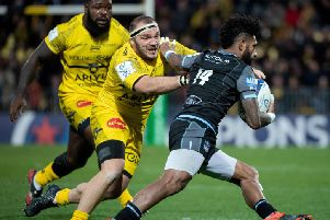 Niko Matawalu takes on the La Rochelle defence as Glasgow fought back to beat the French side. Picture: Xavier Leoty/AFP via Getty Images