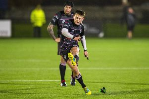 Ross Thompson was on target with a penalty for Ayrshire Bulls. Picture: Bruce White/SNS/SRU