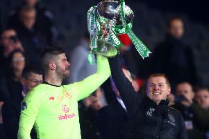 Fraser Forster and Neil Lennon lift the Betfred Cup. Picture: Getty