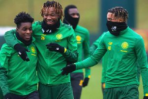 Armstrong Okoflex (far right) is a target for clubs in England - and the English national team, according to reports