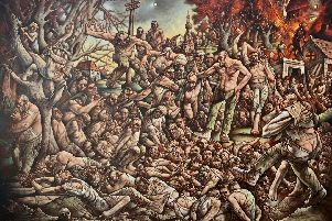 """Peter Howson has described his new painting - The Massacre of Srebrenica - as a depiction of """"a moment in European history."""""""