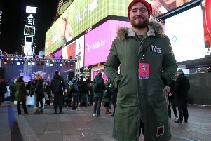 Josh Littlejohn attends the The World's Big Sleep Out at Times Square in New York. Picture: Getty