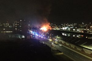 The fire in Glasgow near Lancefield Quay. Picture: Giggles Glittermallow