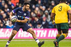 Darryl Marfo in action for Scotland during the 53-24 win over Australia in 2017. Picture: SNS
