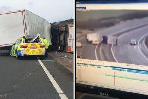 The footage shows the moment the HGV was blown over, causing closures on the A1. PICS: Police Scotland