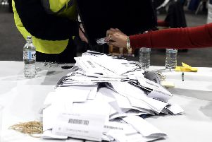 Ballot papers ready to be counted at the Royal Highland Centre in Edinburgh.