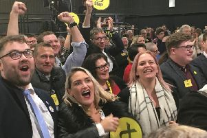 SNP supporters  on hearing Gordon, Alex Salmond's old seat, has returned to the Nationalists.