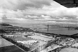 Aerial of the Hewlett Packard factory at South Queensferry and the Forth Road Bridge.