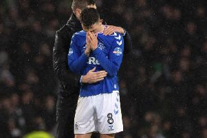 Steven Gerrard comforts Ryan Jack as the tears flow after a Betfred Cup defeat that seemed to merit such an instinctive response. Photograph: Alan Harvey SNS