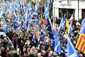 Independence supporters take part in an All Under One Banner rally in Edinburgh