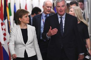 EU Chief negotiator for Brexit Michel Barnier (R) welcomes Scotland's Prime Minister Nicola Sturgeon at the European Commission in Brussels, on May 28, 2018 / AFP PHOTO / AFP PHOTO AND POOL / EMMANUEL DUNANDEMMANUEL DUNAND/AFP/Getty Images