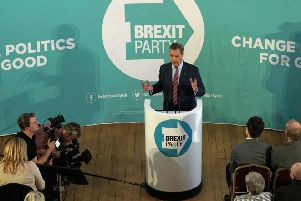 Brexit Party leader Nigel Farage speaking at the Best Western Grand Hotel in Hartlepool.
