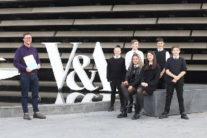 Chris Lewis with school children involved with V&A Dundee's second Schools Design Challenge.
