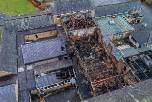 Damage caused by last month's fire at Peebles High School.
