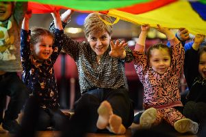 First Minister Nicola Sturgeon with some nursery children. Picture: Jeff J Mitchell/Getty Images